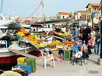 Morning Shopping from the traditional grocery boats of Aegina town