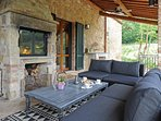 Enjoy the Fireplace from the Veranda