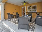 Grab a beverage or a light snack and relax outside on the covered patio.