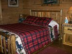 queen log bed in 1 bedroom