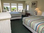 Lower bedroom with 2 Queens and View of River, Ocean and Tillamook Head