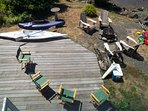 An overhead view of the spacious deck.