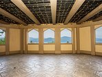 Incredible lake & mountain views from inside the covered terrace.