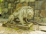 Pensive lion welcomes guests as they arrive to Highlands Castle.