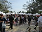 The Saturday green market draws large crowds.