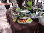 Fruit arrangement at the green market.