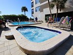 Beautiful pool and spa area are just steps from the beach at Arie Dam in Madeira Beach