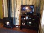 New freestanding gas fireplace, 32' HD flat screen TV with Dish programming