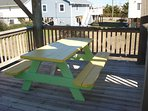 Picnic table on deck from living room