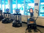 Large Gym with all New Equipment with Beach and Pool View.
