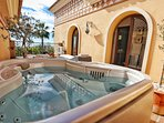 Private Terrace with jacuzzi off Master Bedroom.  Stunning sea views.