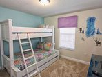 Upstairs Twin Over Full Bunk Bed Room w/Flat Screen TV