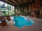 Indoor pool, hot tub, sauna with surround sound TV.