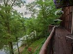 Spacious deck overlooking Lake Hren.