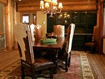 Amazing cow-hide thrones at the main dining table.