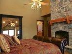 Gas fireplace, flatscreen TV and chaise lounge