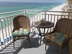 The condo has three separate balconies, one off of each of the three bedrooms.