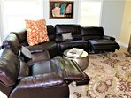 Comfy Leather Sectional with Electric Recliners