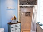 Back House Bathroom Shower with Rain and Wand Shower Heads.