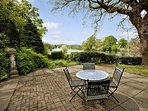 Patio with view of river