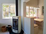 Piazetta for chilly evenings with heating piped into upper bedrooms