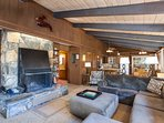 Large stone fireplace in the living room