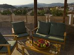 Huge terrace with Byzantine castle views, here you can dine, BBQ and enjoy the views