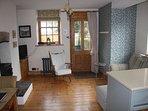Living area with door to garden