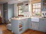 Kitchen area with integrated Fridge/Freezer and dishwasher