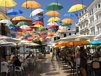 The Famous #UmbrellasInTorrox are a 5 minute walk in Plaza de la Constitución