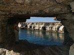 Local scenes. Cape Greco sea caves.