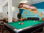 Pool table in downstairs recreation room