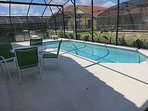 Extended pool deck area gives you the space to relax on the sun furniture.