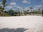 Have game in the sanded volleyball court.