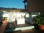 Roof Terrace and raised deck area with amazing sea and mountain views