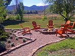 Year round fire pit showing expansive mountain views
