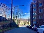 View of Van Cortlandt Park from the apartment street