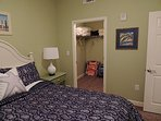 Queen bedroom has walk-in closet, loaner beach chairs and extra blankets