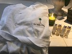 La Jolla Palms spa Robes for your use along with amenities from exclusively from The White Co London