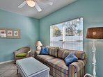 Pull out queen sleeper sofa in the cabana living room area.