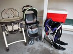 Highchair, stroller, cooler, and KELTY Pathfinder baby hiking backpack for use!