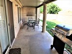 Enjoy grilling on this beautiful covered patio with seating for 6 and BBQ grill.