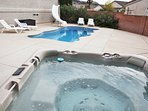The perfect escape year round! TWO HOT TUBS and a Private Pool! This is our roomy 7 person hot tub.
