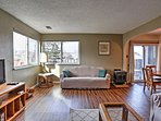 Gorgeous hardwood floors flow throughout the living space.