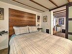 The bedroom offers a comfortable queen-sized bed.