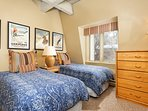 Beautiful 3rd bedroom has twin beds with down comforters and pillows
