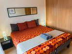 The bedroom can be turned into 2 twin beds in case you don't need the kingsize bed.