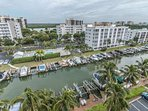 Enjoy watching boaters come and go out of the canal on their way to the Gulf.