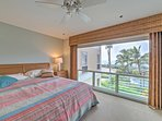 The master bedroom offers a comfortable king-sized bed.