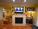 Plasma TV over Gas Fireplace